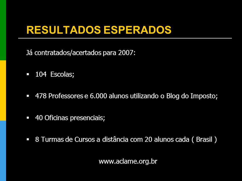 RESULTADOS ESPERADOS Já contratados/acertados para 2007: 104 Escolas; 478 Professores e 6.000 alunos utilizando o Blog do Imposto; 40 Oficinas presenc