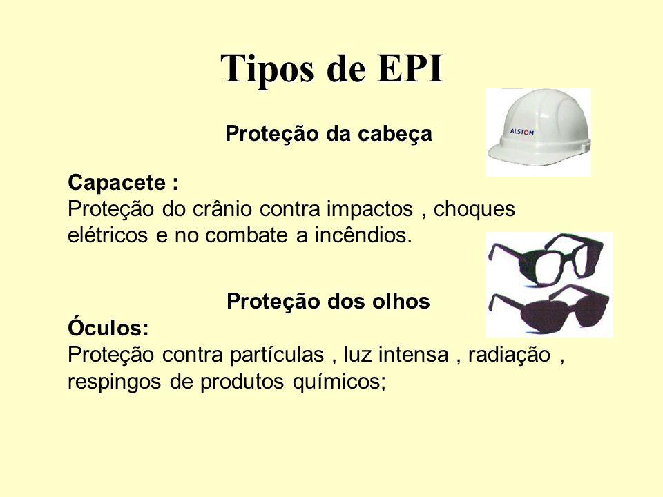 Tipos de EPI Proteção dos membros inferiores Calçados de segurança Botinas Protege de pés, dedos dos pés e pernas contra riscos de origem térmica, umidade, produtos químicos, quedas.