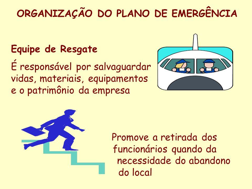 ORGANIZAÇÃO DO PLANO DE EMERGÊNCIA Equipe de Assistência Médica Sua única responsabilidade é prestar os primeiros socorros aos funcionários envolvidos em acidentes dentro do ambiente de trabalho da empresa