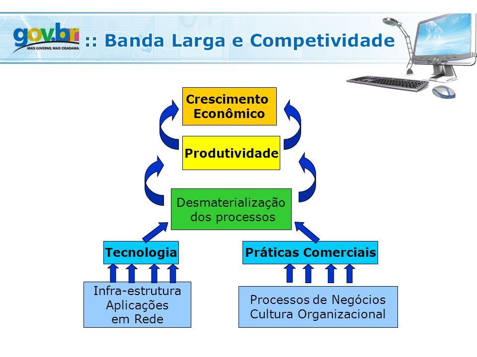 Crescimento Econômico Produtividade Desmaterialização dos processos TecnologiaPráticas Comerciais Infra-estrutura Aplicações em Rede Processos de Negócios Cultura Organizacional