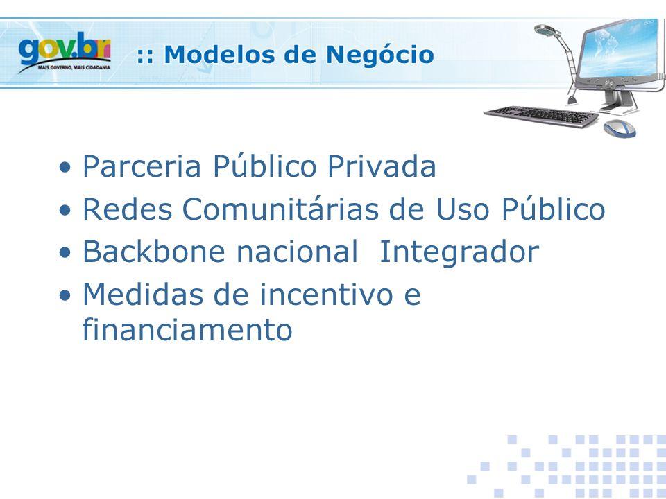 Parceria Público Privada Redes Comunitárias de Uso Público Backbone nacional Integrador Medidas de incentivo e financiamento