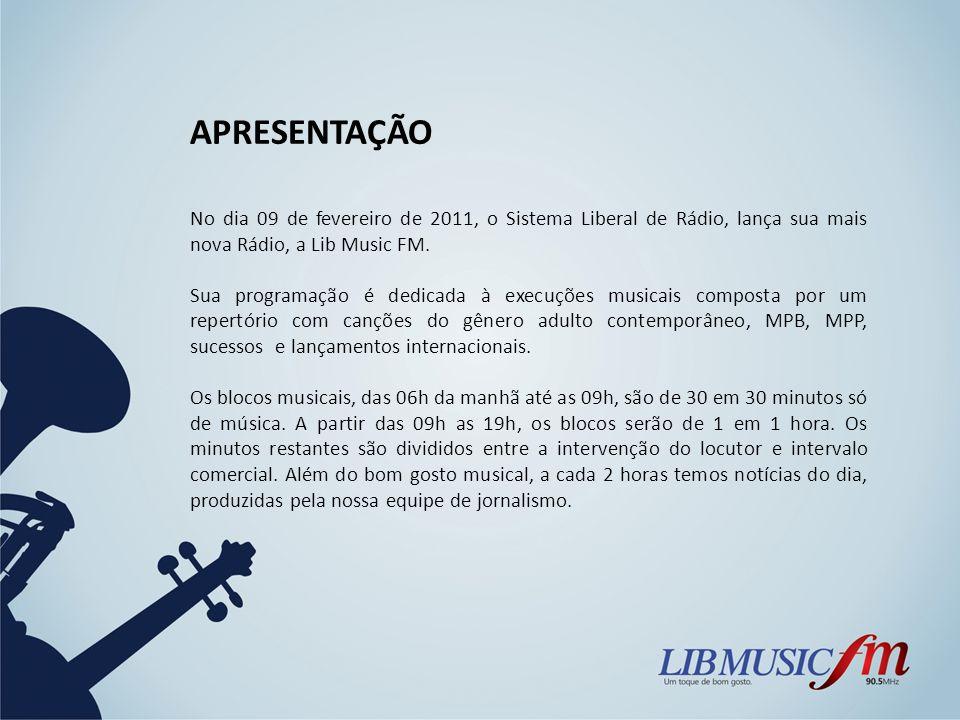 APRESENTAÇÃO No dia 09 de fevereiro de 2011, o Sistema Liberal de Rádio, lança sua mais nova Rádio, a Lib Music FM. Sua programação é dedicada à execu