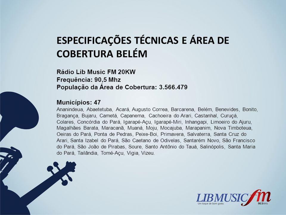 ESPECIFICAÇÕES TÉCNICAS E ÁREA DE COBERTURA BELÉM Rádio Lib Music FM 20KW Frequência: 90,5 Mhz População da Área de Cobertura: 3.566.479 Municípios: 4