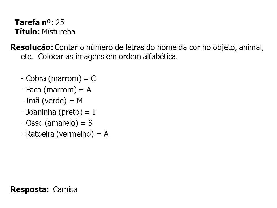 Tarefa nº: 25 Título: Mistureba Resolução: Contar o número de letras do nome da cor no objeto, animal, etc. Colocar as imagens em ordem alfabética. -