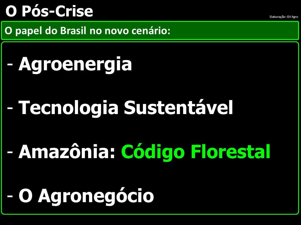 O papel do Brasil no novo cenário: O Pós-Crise - Agroenergia - Tecnologia Sustentável - Amazônia: Código Florestal - O Agronegócio Elaboração: GV Agro