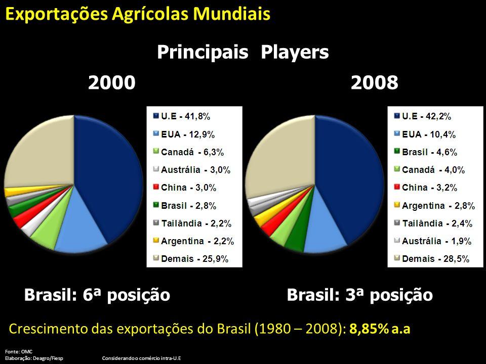 Principais Players Crescimento das exportações do Brasil (1980 – 2008): 8,85% a.a Fonte: OMC Elaboração: Deagro/FiespConsiderando o comércio intra-U.E