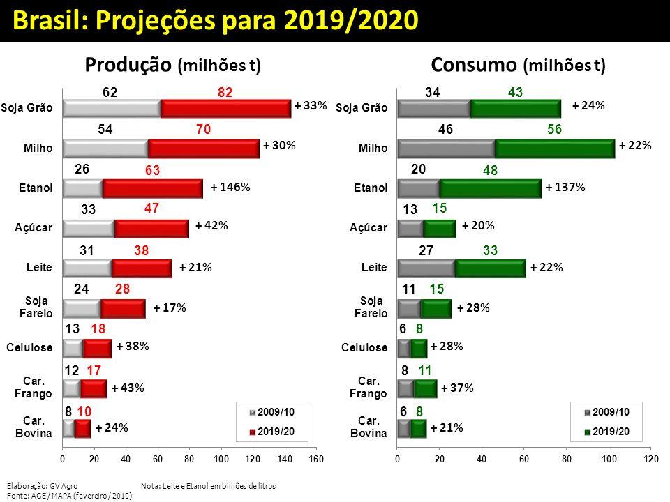 Brasil: Projeções para 2019/2020 Produção (milhões t) Consumo (milhões t) + 33% + 30% + 146% + 42% + 21% + 17% + 38% + 43% + 24% + 22% + 137% + 20% +