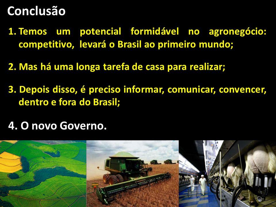 54 Conclusão 1.Temos um potencial formidável no agronegócio: competitivo, levará o Brasil ao primeiro mundo; 2. Mas há uma longa tarefa de casa para r