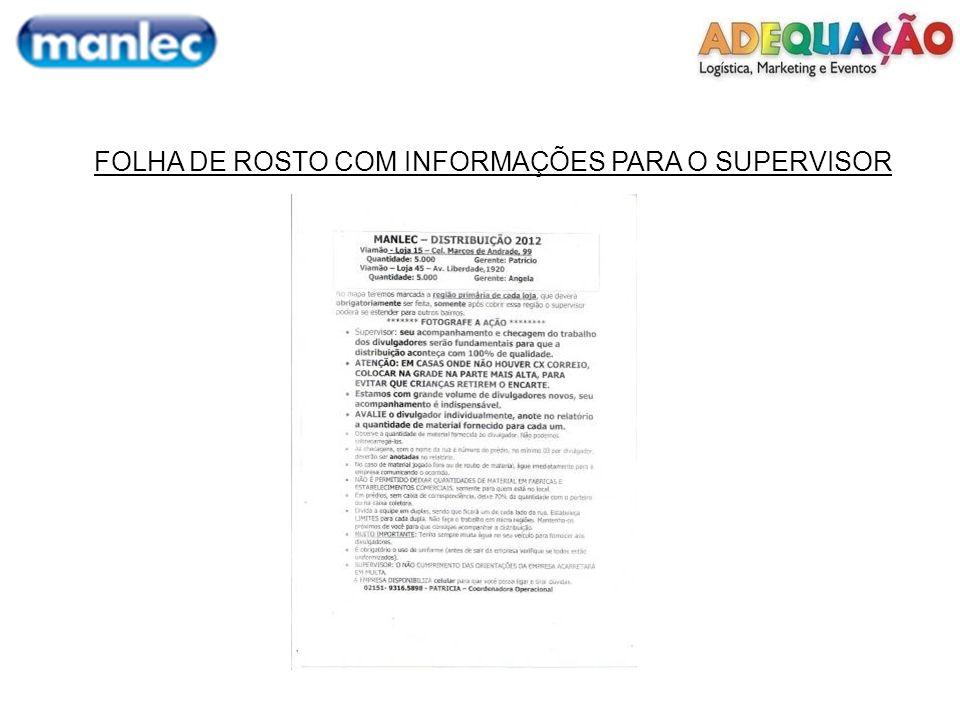 FOLHA DE ROSTO COM INFORMAÇÕES PARA O SUPERVISOR