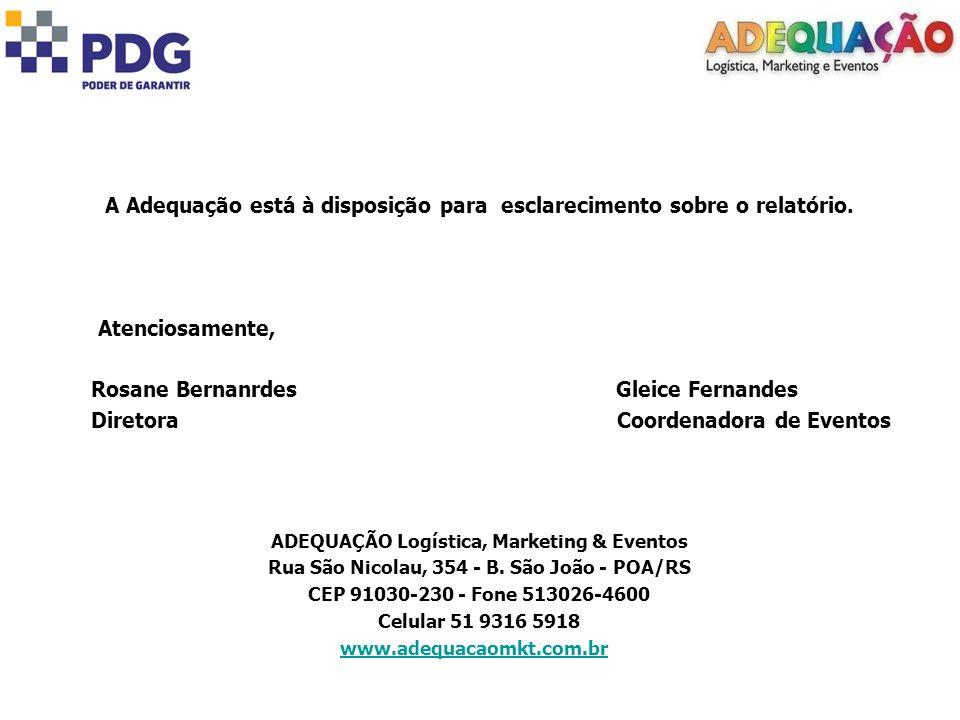 A Adequação está à disposição para esclarecimento sobre o relatório. Atenciosamente, Rosane Bernanrdes Gleice Fernandes Diretora Coordenadora de Event