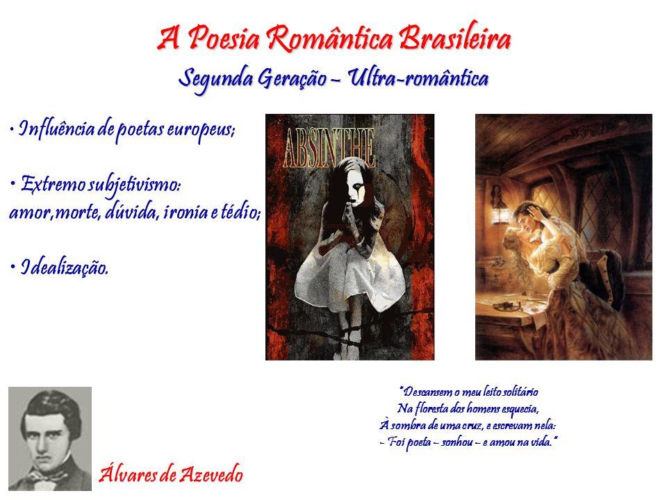 A Poesia Romântica Brasileira Segunda Geração – Ultra-romântica Influência de poetas europeus; Extremo subjetivismo: amor,morte, dúvida, ironia e tédi