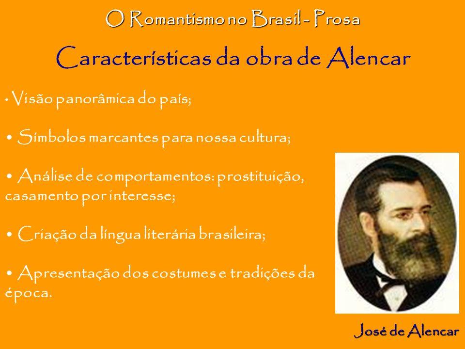O Romantismo no Brasil – Prosa José de Alencar Classificação dos Romances Romance histórico O Guarani Romance indianista Iracema