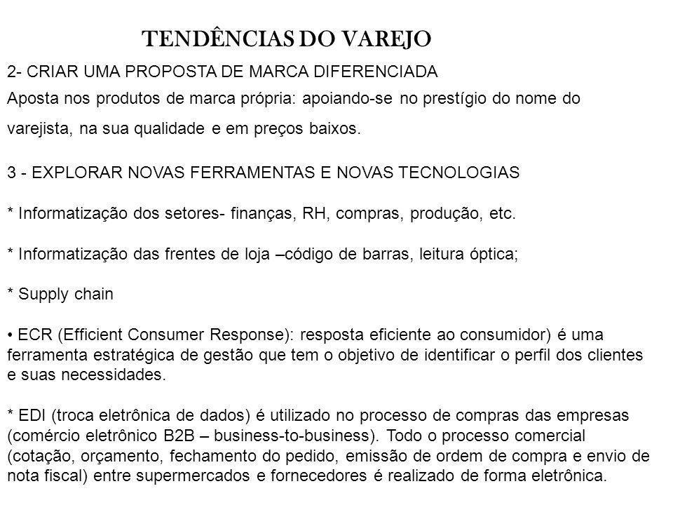 TENDÊNCIAS DO VAREJO 2- CRIAR UMA PROPOSTA DE MARCA DIFERENCIADA Aposta nos produtos de marca própria: apoiando-se no prestígio do nome do varejista,