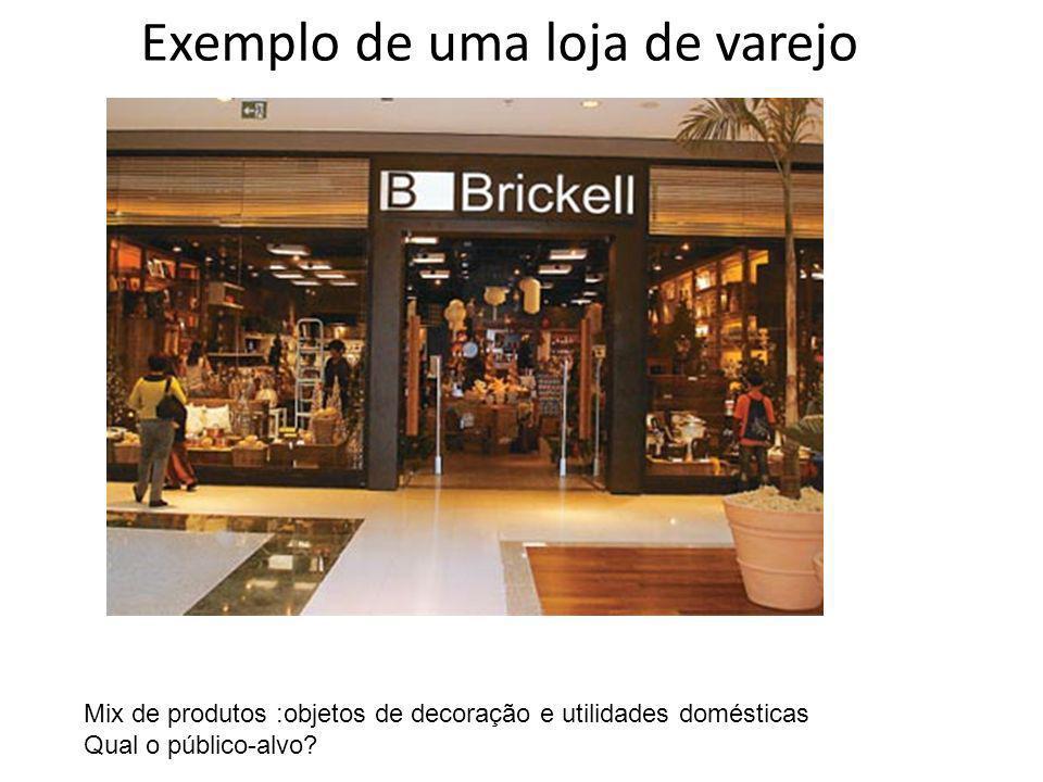 Exemplo de uma loja de varejo Mix de produtos :objetos de decoração e utilidades domésticas Qual o público-alvo?