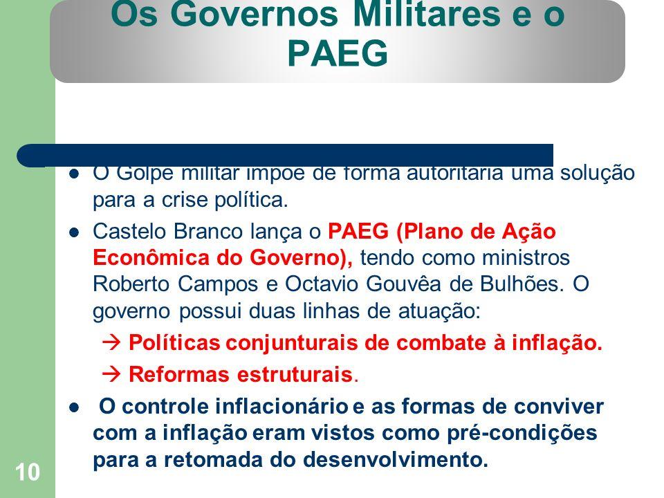 10 Os Governos Militares e o PAEG O Golpe militar impõe de forma autoritária uma solução para a crise política. Castelo Branco lança o PAEG (Plano de