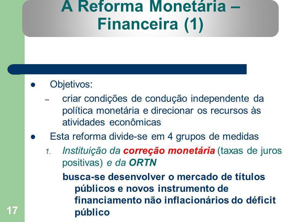 17 A Reforma Monetária – Financeira (1) Objetivos: – criar condições de condução independente da política monetária e direcionar os recursos às ativid