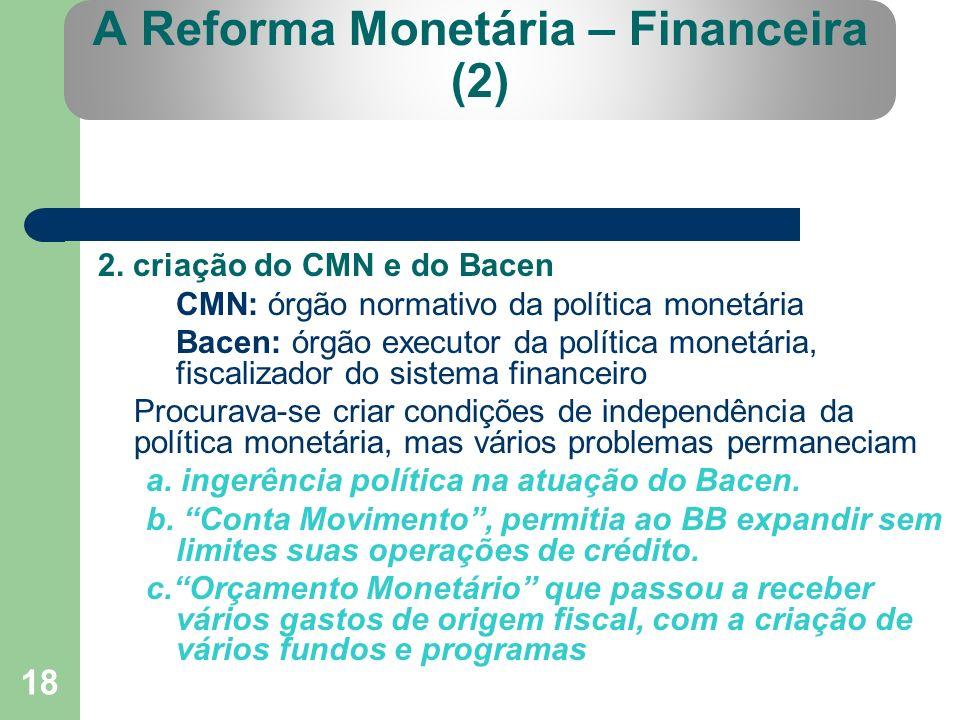 18 A Reforma Monetária – Financeira (2) 2. criação do CMN e do Bacen CMN: órgão normativo da política monetária Bacen: órgão executor da política mone