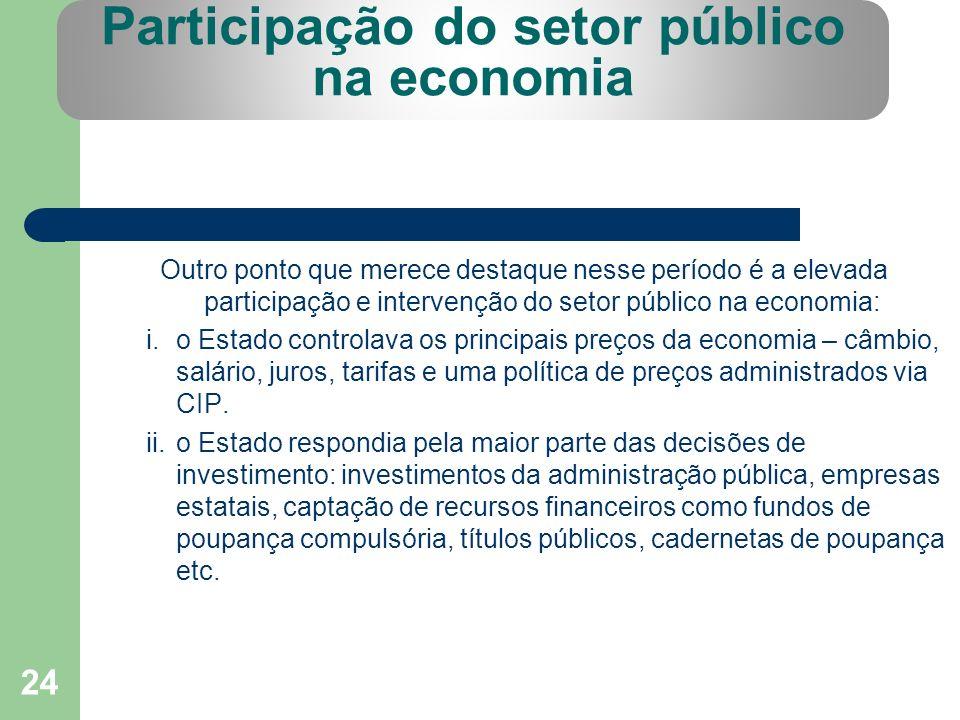 24 Participação do setor público na economia Outro ponto que merece destaque nesse período é a elevada participação e intervenção do setor público na