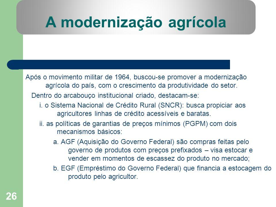 26 A modernização agrícola Após o movimento militar de 1964, buscou-se promover a modernização agrícola do país, com o crescimento da produtividade do