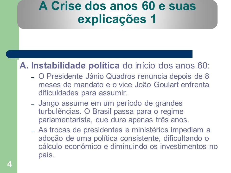 4 A Crise dos anos 60 e suas explicações 1 A. Instabilidade política do início dos anos 60: – O Presidente Jânio Quadros renuncia depois de 8 meses de