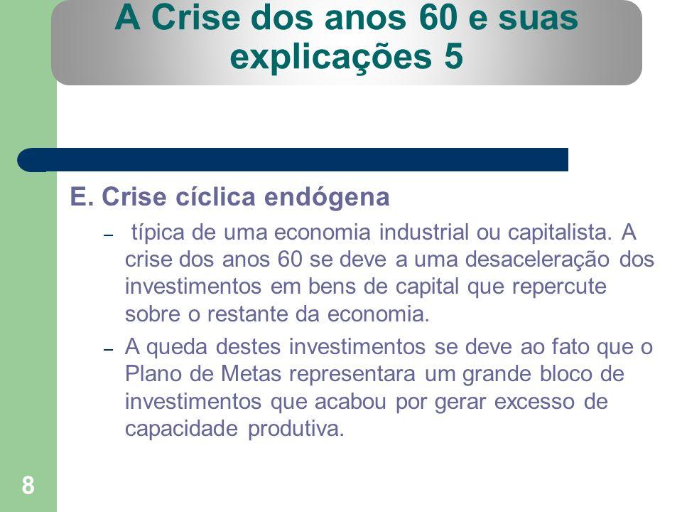 8 A Crise dos anos 60 e suas explicações 5 E. Crise cíclica endógena – típica de uma economia industrial ou capitalista. A crise dos anos 60 se deve a