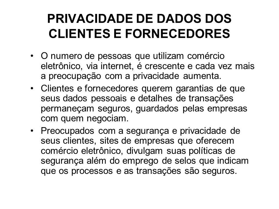 PRIVACIDADE DE DADOS DOS CLIENTES E FORNECEDORES O numero de pessoas que utilizam comércio eletrônico, via internet, é crescente e cada vez mais a preocupação com a privacidade aumenta.