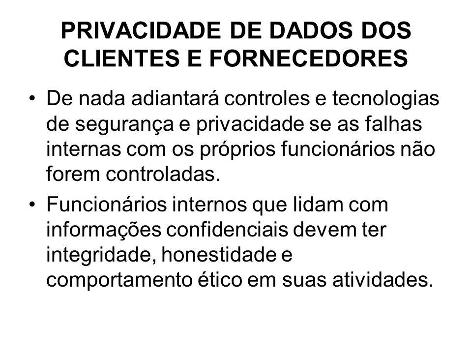 PRIVACIDADE DE DADOS DOS CLIENTES E FORNECEDORES De nada adiantará controles e tecnologias de segurança e privacidade se as falhas internas com os pró