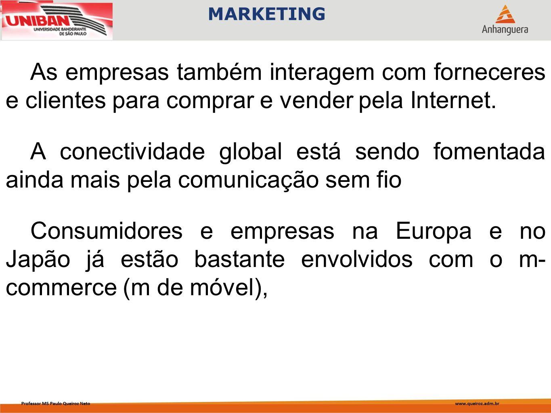 As empresas também interagem com forneceres e clientes para comprar e vender pela Internet. A conectividade global está sendo fomentada ainda mais pel