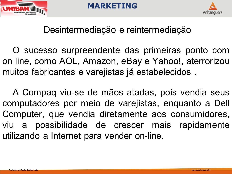 Desintermediação e reintermediação O sucesso surpreendente das primeiras ponto com on line, como AOL, Amazon, eBay e Yahoo!, aterrorizou muitos fabricantes e varejistas já estabelecidos.