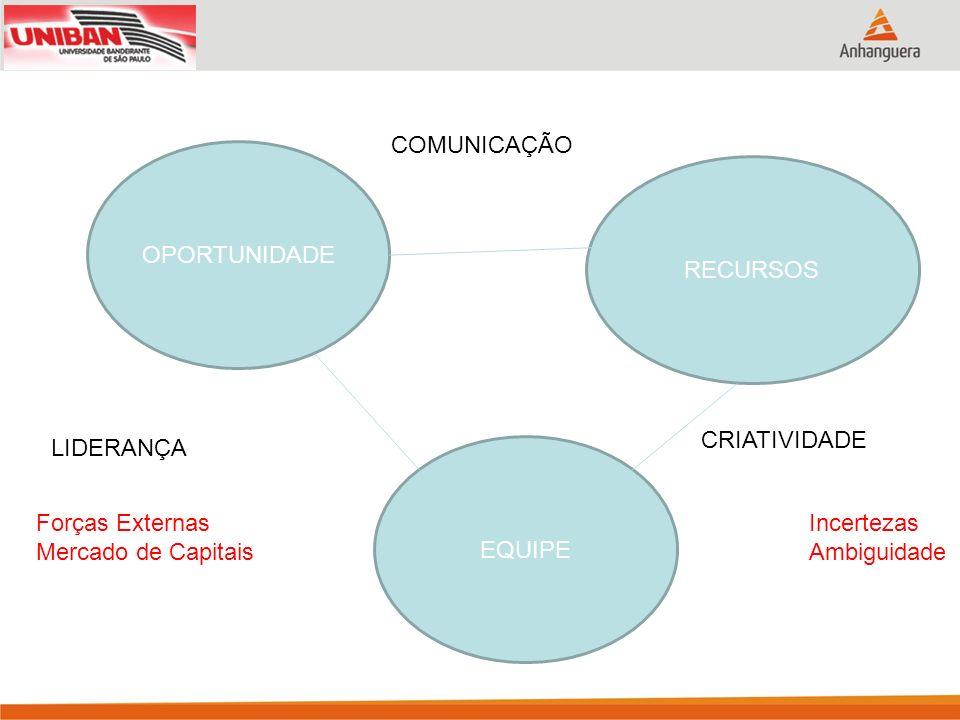 OPORTUNIDADE EQUIPE RECURSOS COMUNICAÇÃO LIDERANÇA CRIATIVIDADE Incertezas Ambiguidade Forças Externas Mercado de Capitais