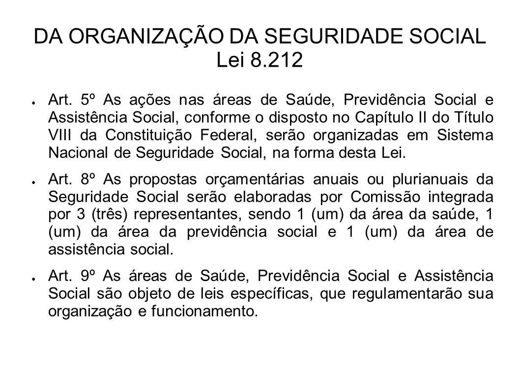 DA ORGANIZAÇÃO DA SEGURIDADE SOCIAL Lei 8.212 Art. 5º As ações nas áreas de Saúde, Previdência Social e Assistência Social, conforme o disposto no Cap