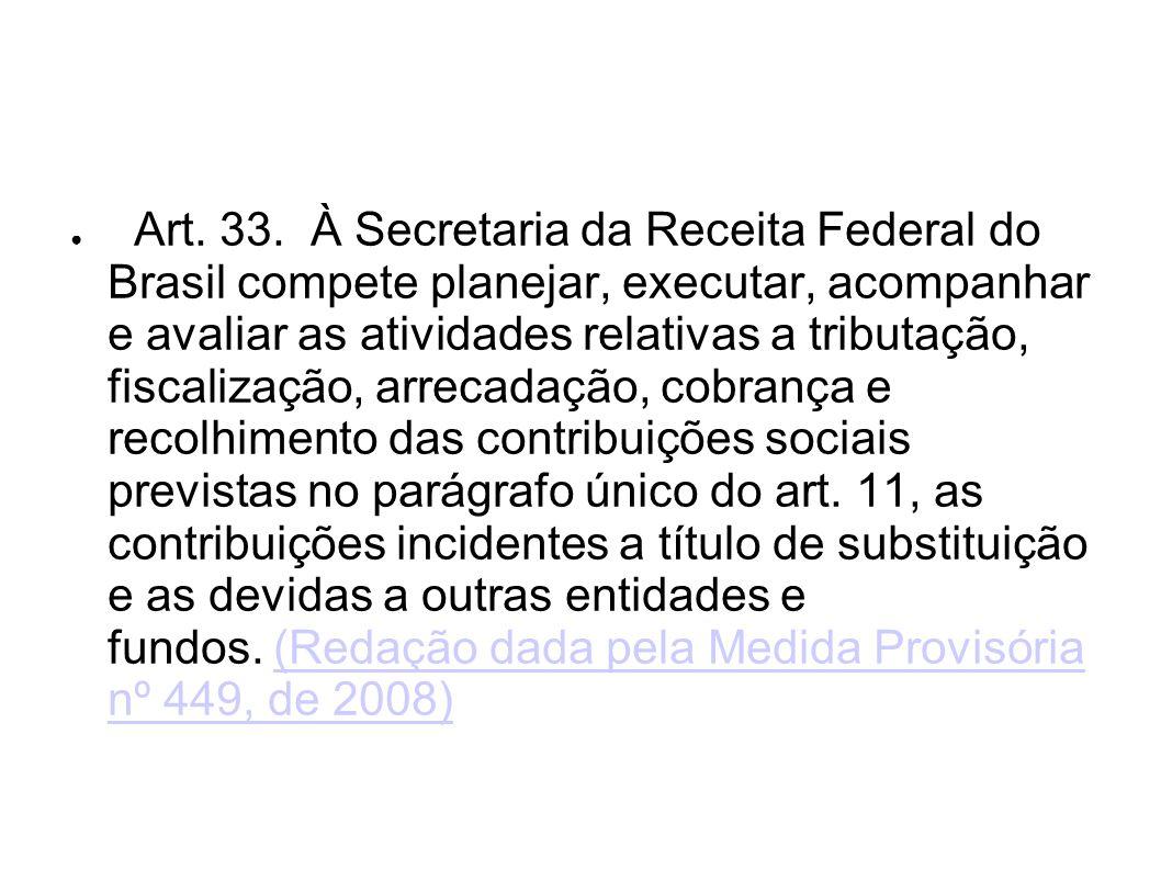 Art. 33. À Secretaria da Receita Federal do Brasil compete planejar, executar, acompanhar e avaliar as atividades relativas a tributação, fiscalização