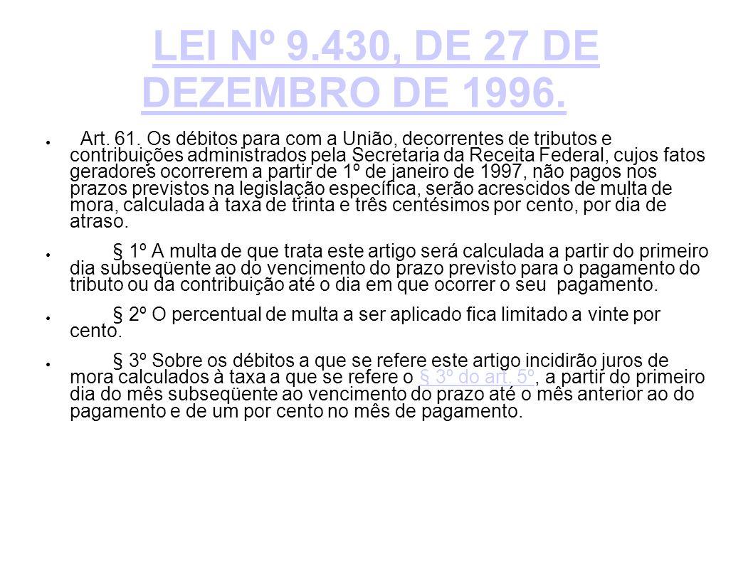 LEI Nº 9.430, DE 27 DE DEZEMBRO DE 1996. Art. 61. Os débitos para com a União, decorrentes de tributos e contribuições administrados pela Secretaria d
