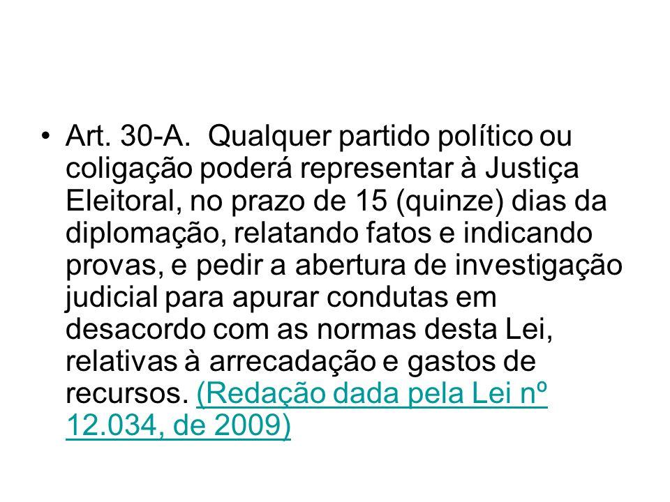 Art. 30-A. Qualquer partido político ou coligação poderá representar à Justiça Eleitoral, no prazo de 15 (quinze) dias da diplomação, relatando fatos