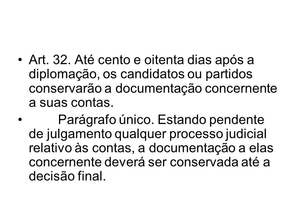 Art. 32. Até cento e oitenta dias após a diplomação, os candidatos ou partidos conservarão a documentação concernente a suas contas. Parágrafo único.