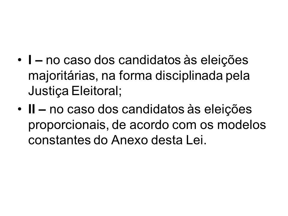 I – no caso dos candidatos às eleições majoritárias, na forma disciplinada pela Justiça Eleitoral; II – no caso dos candidatos às eleições proporciona