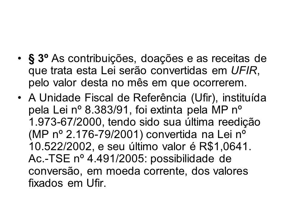 § 3º As contribuições, doações e as receitas de que trata esta Lei serão convertidas em UFIR, pelo valor desta no mês em que ocorrerem. A Unidade Fisc