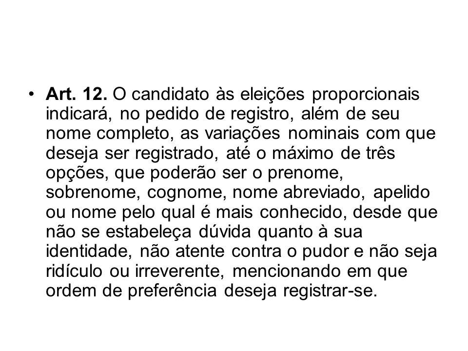 Art. 12. O candidato às eleições proporcionais indicará, no pedido de registro, além de seu nome completo, as variações nominais com que deseja ser re