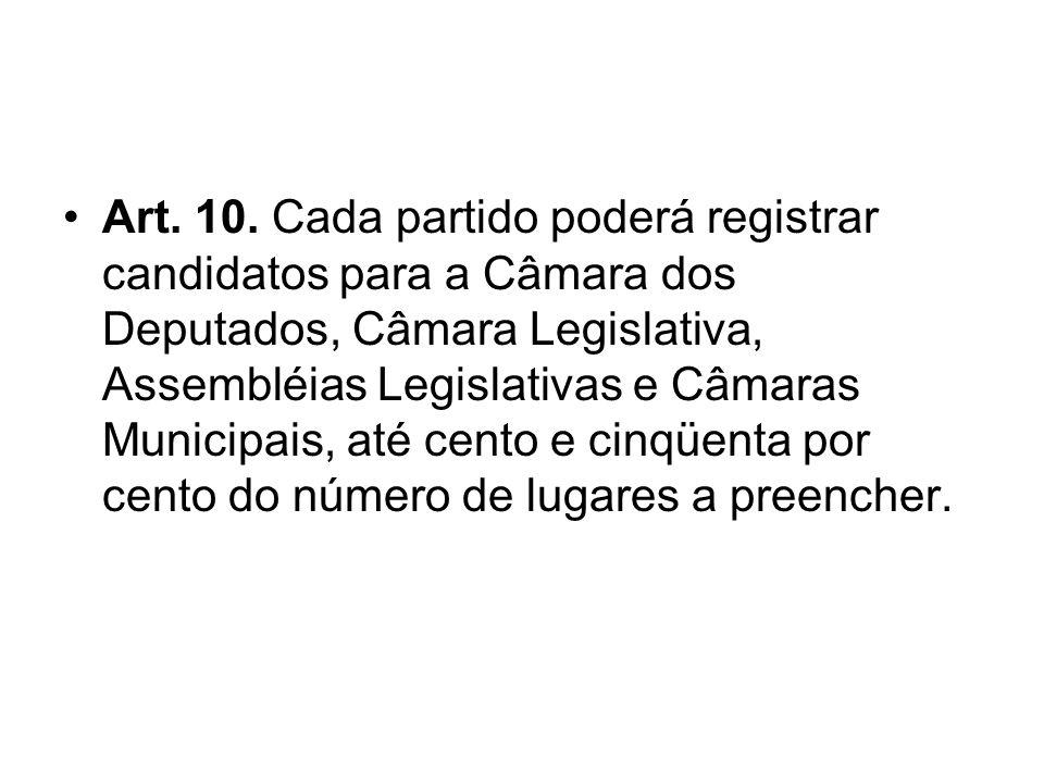 Art. 10. Cada partido poderá registrar candidatos para a Câmara dos Deputados, Câmara Legislativa, Assembléias Legislativas e Câmaras Municipais, até