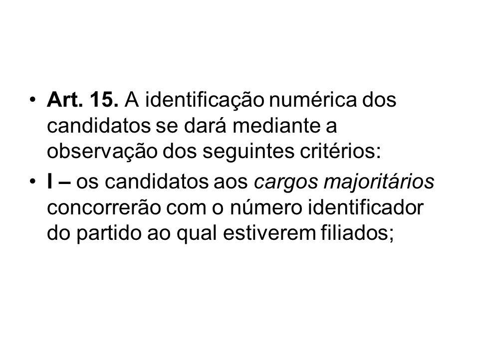 Art. 15. A identificação numérica dos candidatos se dará mediante a observação dos seguintes critérios: I – os candidatos aos cargos majoritários conc