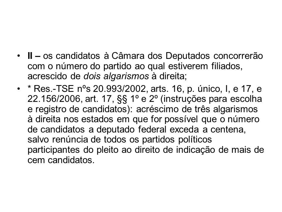 II – os candidatos à Câmara dos Deputados concorrerão com o número do partido ao qual estiverem filiados, acrescido de dois algarismos à direita; * Re