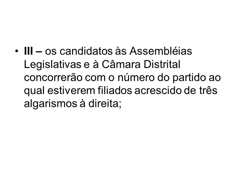 III – os candidatos às Assembléias Legislativas e à Câmara Distrital concorrerão com o número do partido ao qual estiverem filiados acrescido de três