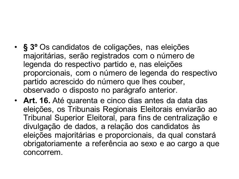 § 3º Os candidatos de coligações, nas eleições majoritárias, serão registrados com o número de legenda do respectivo partido e, nas eleições proporcio