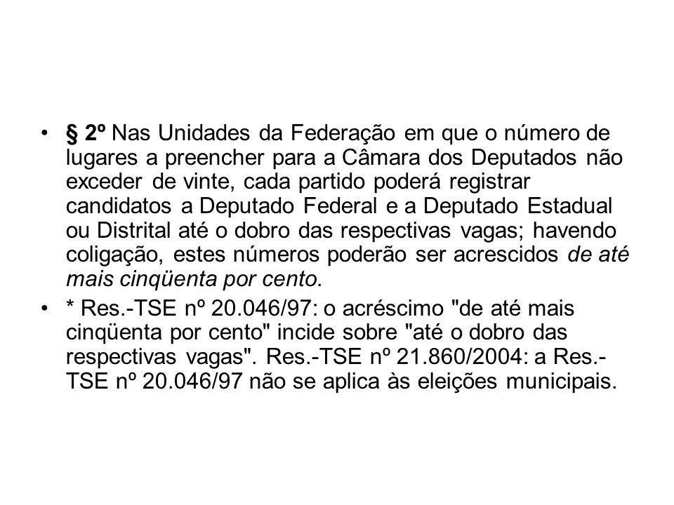 § 2º Nas Unidades da Federação em que o número de lugares a preencher para a Câmara dos Deputados não exceder de vinte, cada partido poderá registrar