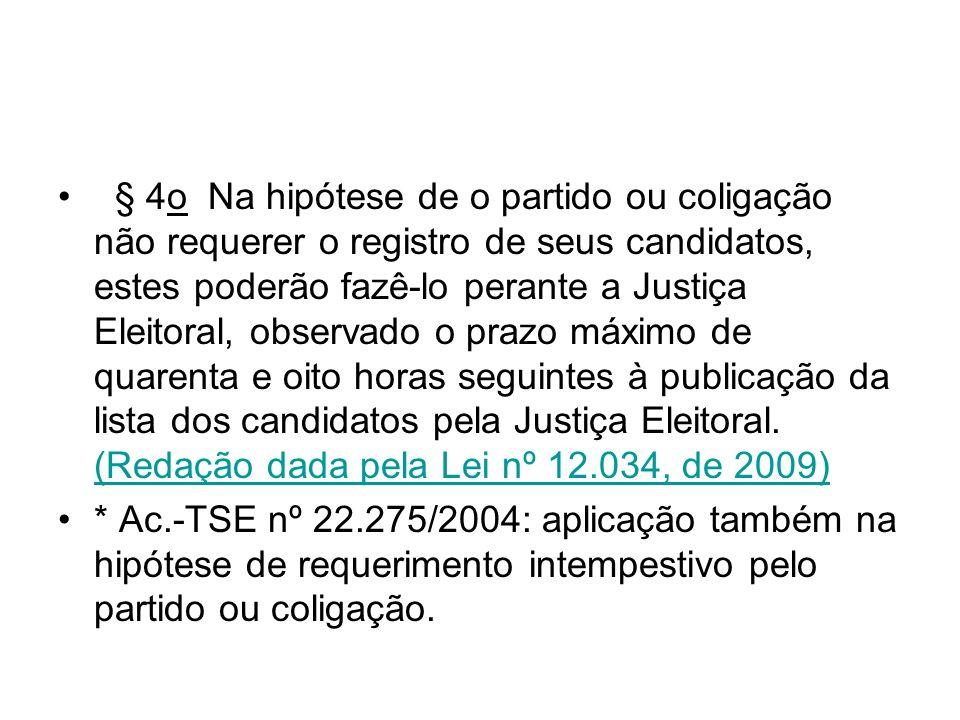 § 4o Na hipótese de o partido ou coligação não requerer o registro de seus candidatos, estes poderão fazê-lo perante a Justiça Eleitoral, observado o