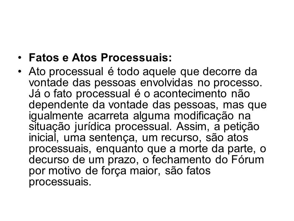 Fatos e Atos Processuais: Ato processual é todo aquele que decorre da vontade das pessoas envolvidas no processo. Já o fato processual é o acontecimen