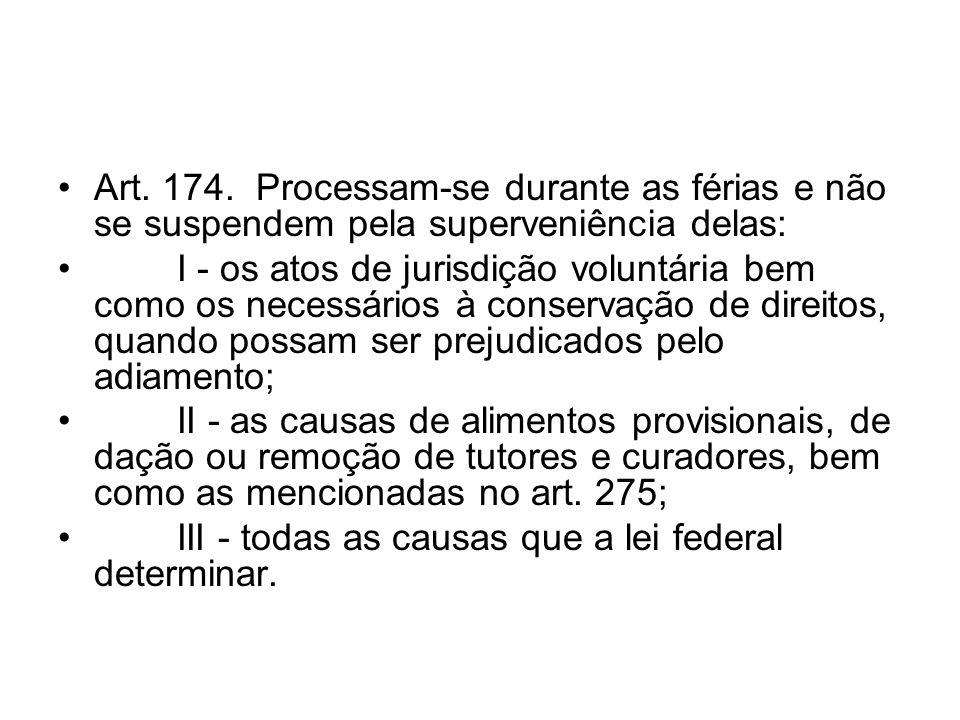 Art. 174. Processam-se durante as férias e não se suspendem pela superveniência delas: I - os atos de jurisdição voluntária bem como os necessários à