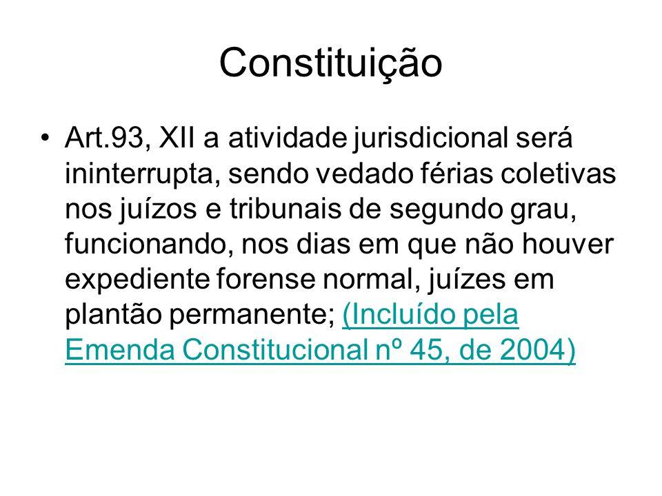 Constituição Art.93, XII a atividade jurisdicional será ininterrupta, sendo vedado férias coletivas nos juízos e tribunais de segundo grau, funcionand