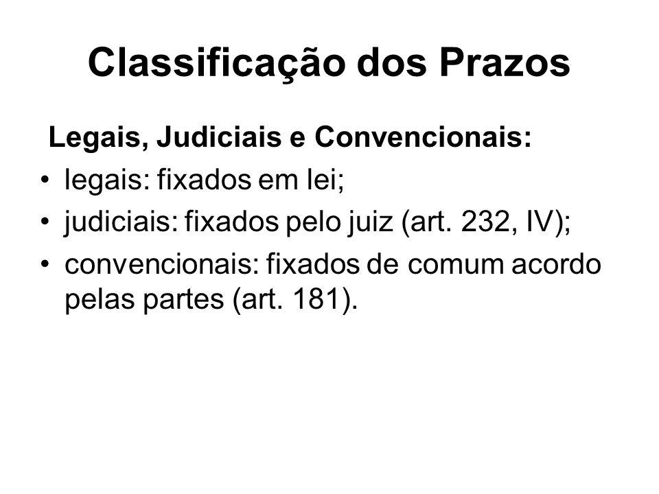 Classificação dos Prazos Legais, Judiciais e Convencionais: legais: fixados em lei; judiciais: fixados pelo juiz (art. 232, IV); convencionais: fixado