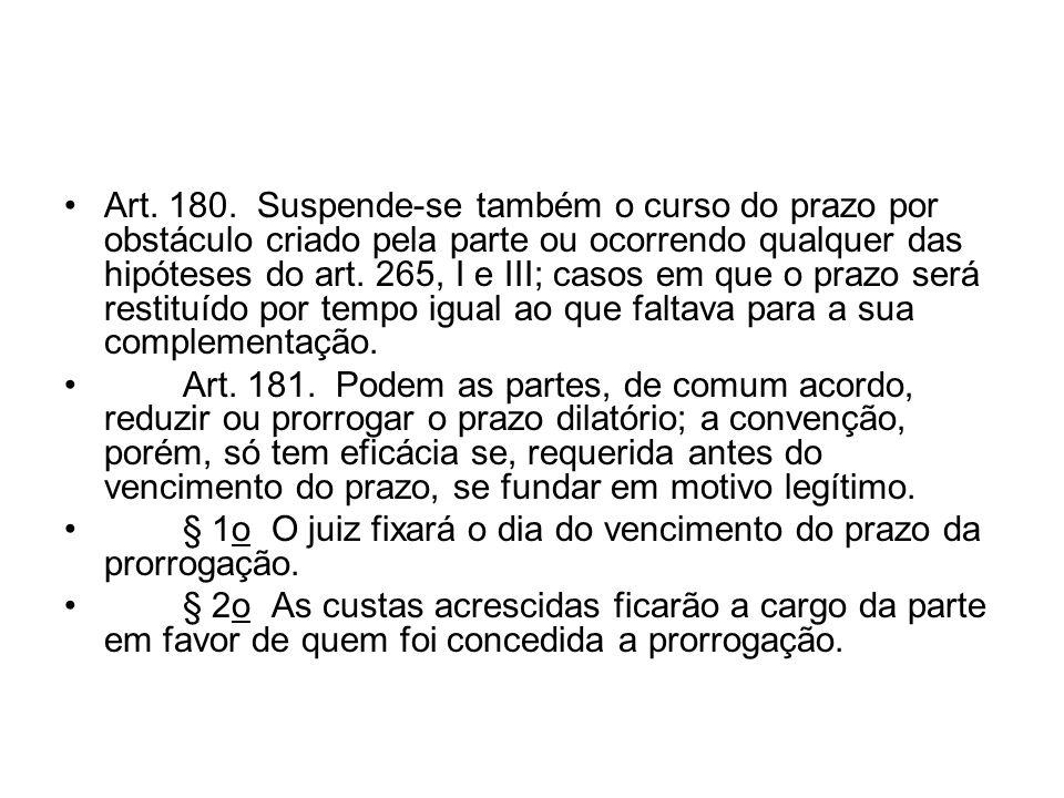 Art. 180. Suspende-se também o curso do prazo por obstáculo criado pela parte ou ocorrendo qualquer das hipóteses do art. 265, I e III; casos em que o